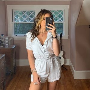 LF - White Zip-Up Romper